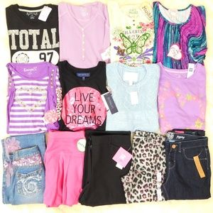 Girls Size L 14 Clothes Lot Tops Jeans Outfits NWT